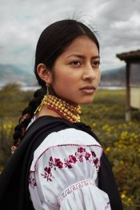 A stunning Otavaleña woman in traditional clothing. Courtesy of Google images.