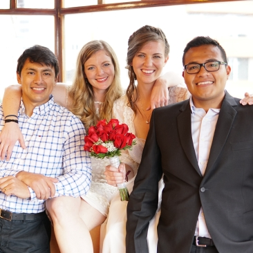 The two Paiva sisters with their Ecua husbands